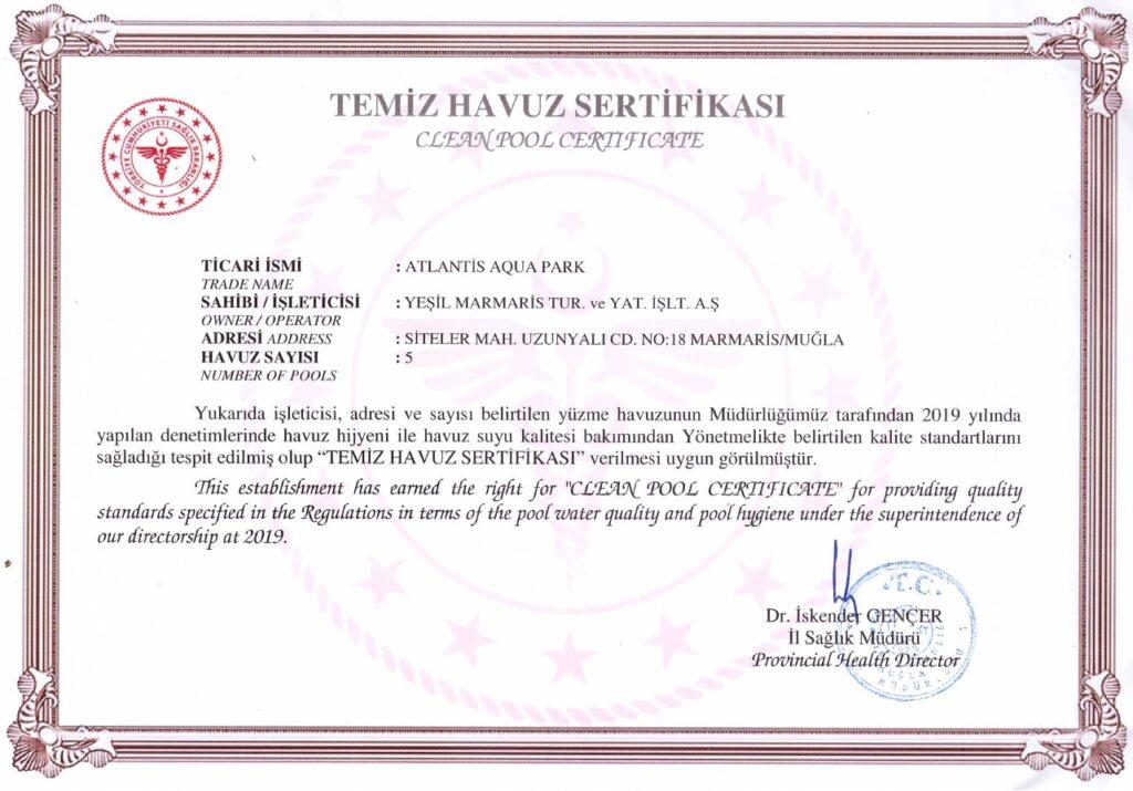 Atlantis Clean Pool Certificate - 2021